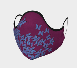 Designer Fashion & Stylish Face Covering Mask Magenta with Butterfly - MyFlyGirl