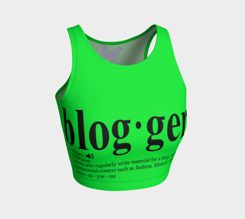 MyFLYGirl Inspired - Bloggers Women's Green Athletic Crop Top - MyFlyGirl