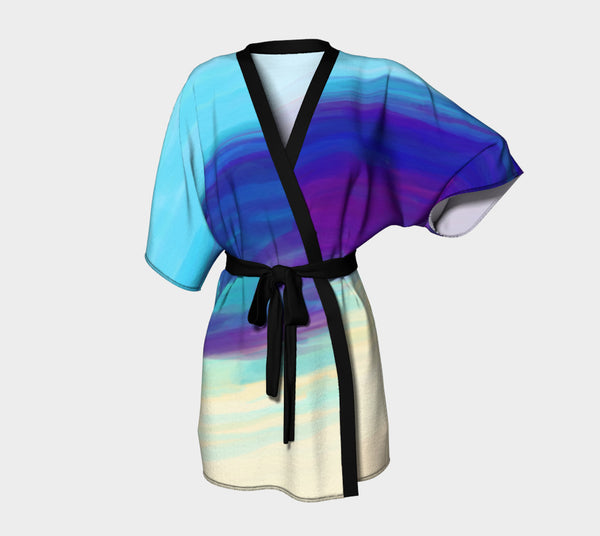 Sand and Sea - Signature MyFLYGirl Blue Kimono Robe in Chiffon and Silky Knit - MyFlyGirl