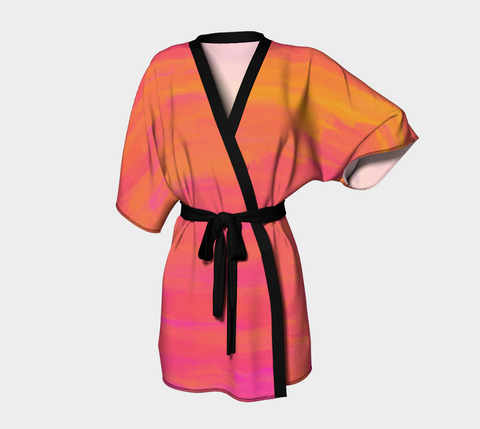 Orange Summer Sunset - Signature MyFlyGirl Kimono Robe Chiffon or Silky Knit - MyFlyGirl