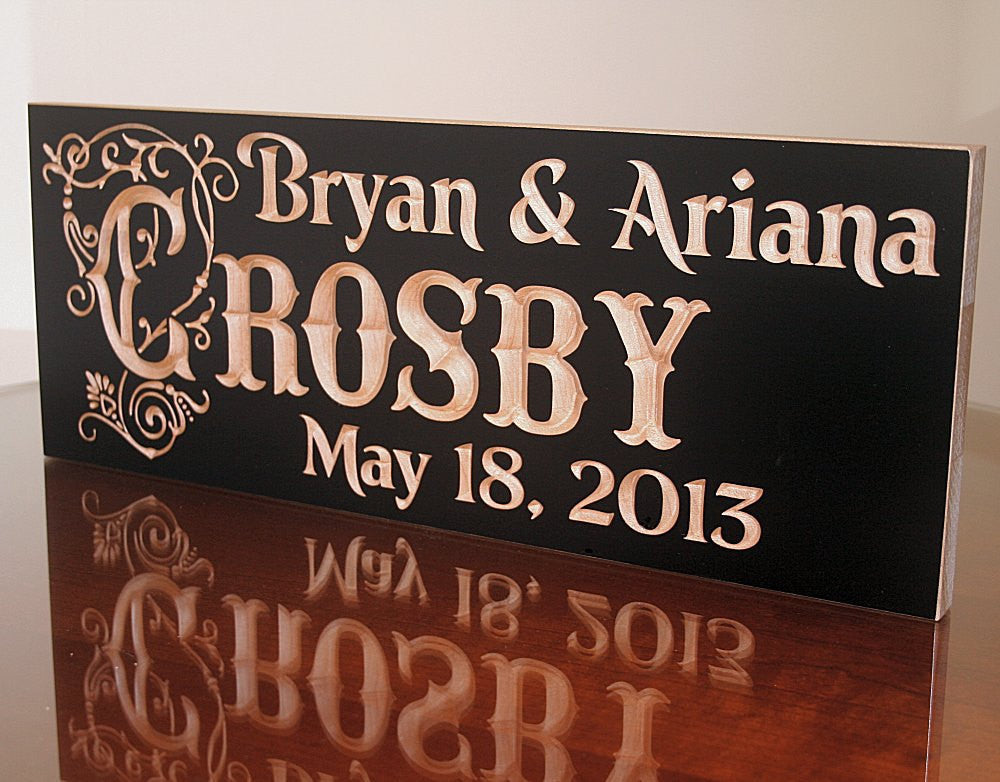 5th Anniversary Engraved Wood Signs