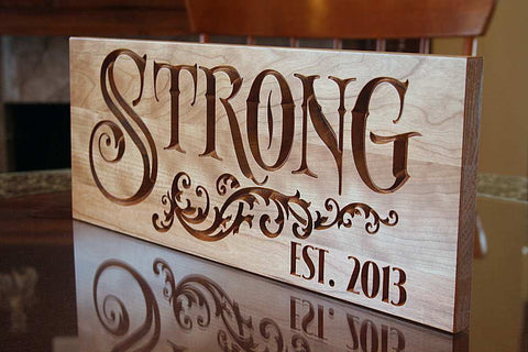 5th Anniversary Gift, Custom Established Sign, Benchmark Custom Signs Cherry SN