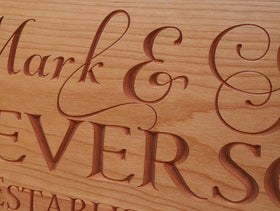 5th Anniversary Gift, Personalized Established Sign, Benchmark Custom Signs Cherry GV