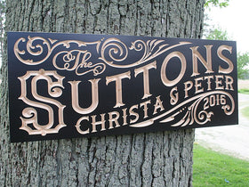 5th Anniversary Gift, Personalized Wooden Established Sign, Benchmark Custom Signs Maple RS