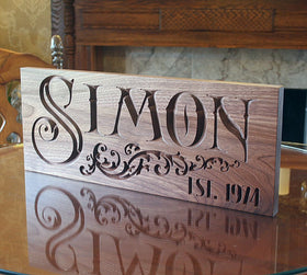 5th Anniversary Gift, Custom Established Sign, Benchmark Custom Signs Walnut SN