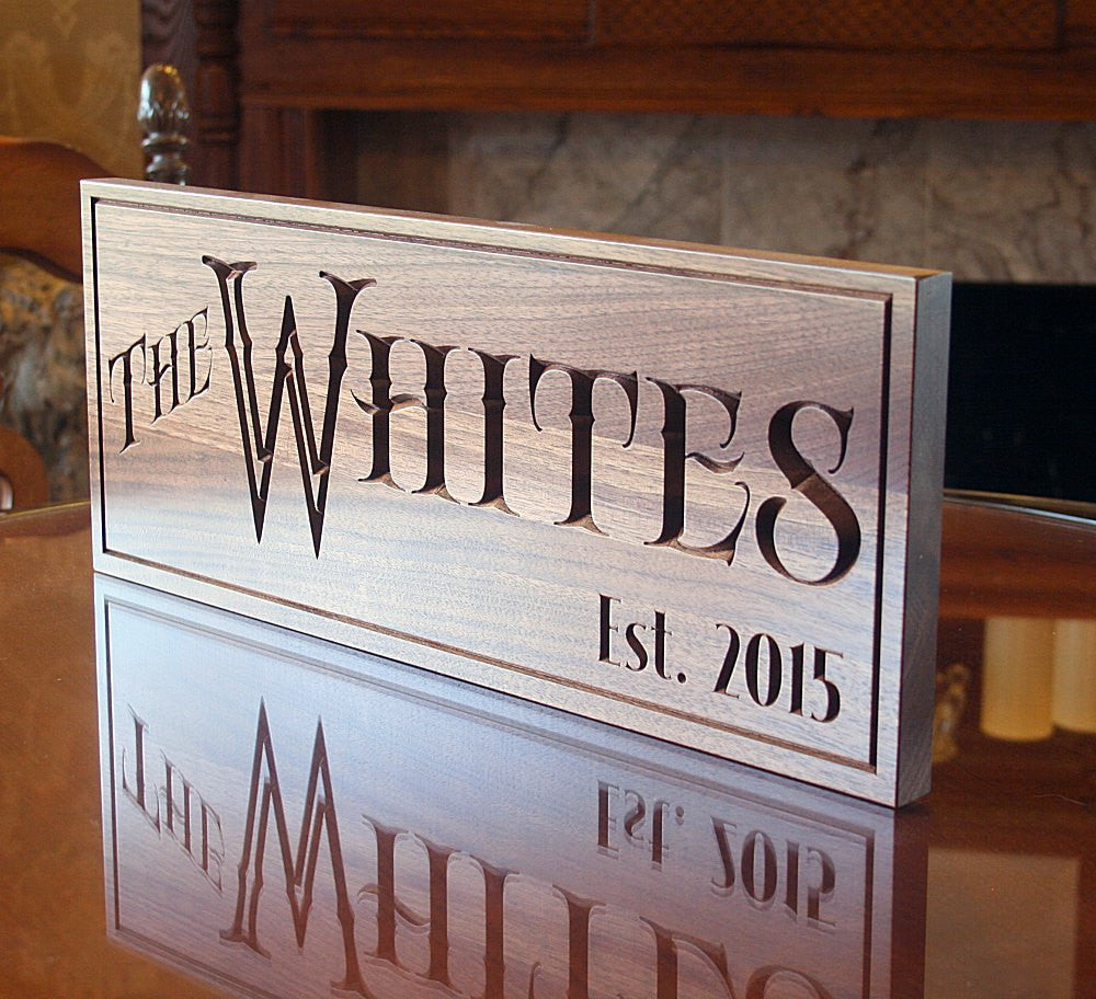 5th Anniversary Sign, Carved Wooden Sign, Benchmark Custom Signs Walnut RY