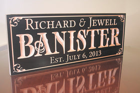 5th Anniversary Sign, Last Name Established Sign,  Benchmark Custom Signs Maple BN