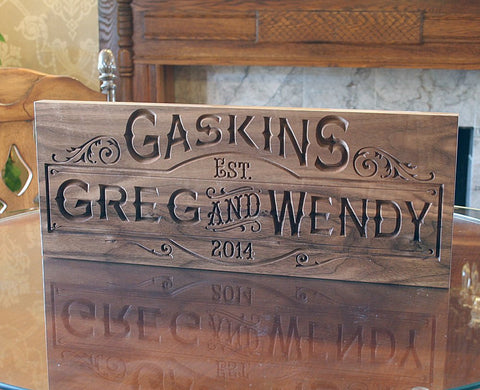 5th Anniversary Sign, Family Name Sign, Personalized Family Name Sign, Benchmark Custom Signs Walnut SB