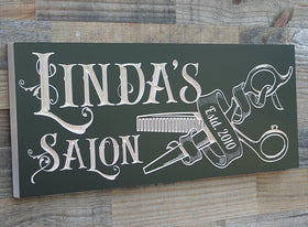 Custom Wood Sign for Hair Salon or Barbershop, Business Sign, Black BH