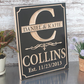 Custom Engraved Family Name Wood Sign