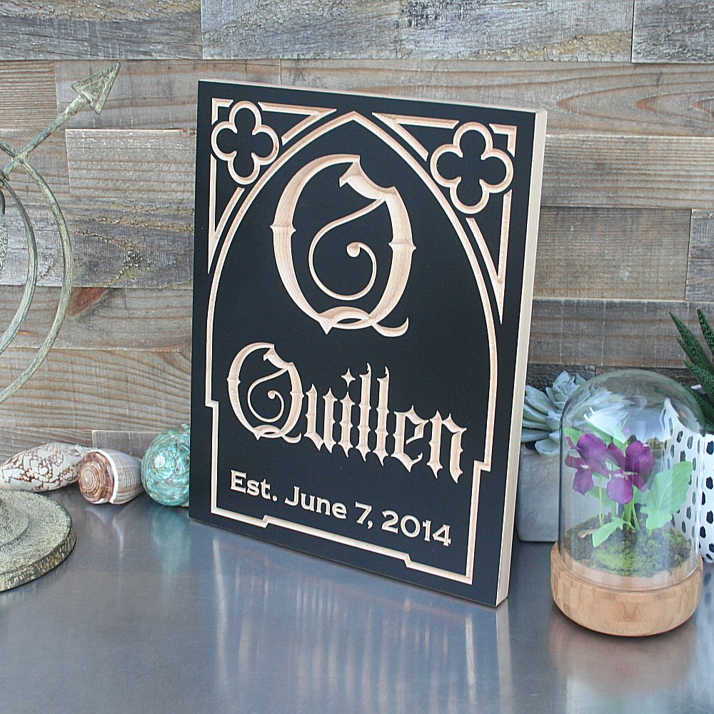 Custom Monogram Sign, Personalized Last Name Wood Sign, Black HW