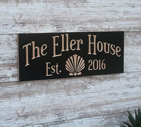 Beach House Sign with Sea Shell