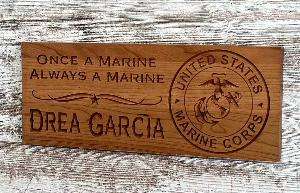 Marine Corps Sign, Military Retirement Gift, USMC Sign,  Cherry MS