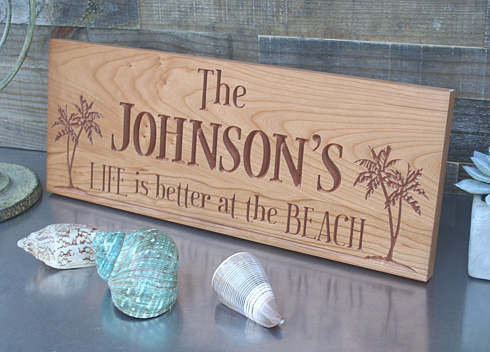 Beach House Sign with Palm Trees