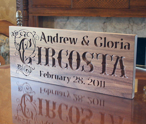 5th Anniversary Engraved Wood Plaque