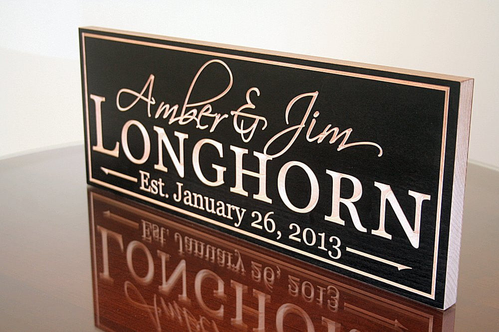 Anniversary Custom Wood Sign Wedding Established Sign Name Sign Family Name Sign, Maple LH