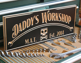Carved Man Cave Sign, Personalized Man Cave Sign, Personalized Workshop Sign, Benchmark Custom Signs Maple CH