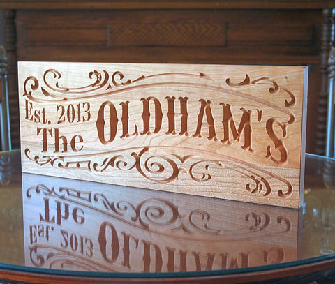 Carved Wooden Sign, Family Name Sign, Benchmark Custom Signs Cherry SS
