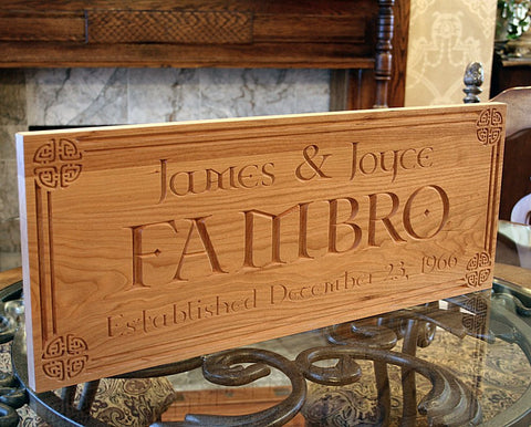 Celtic Sign, Carved Wooden Sign, Irish Name Sign, Established Sign, Benchmark Custom Signs Cherry CN