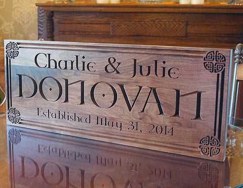 Celtic Sign, Family Name Sign, Established Sign, Irish Name Sign, Benchmark Custom Signs Walnut CN