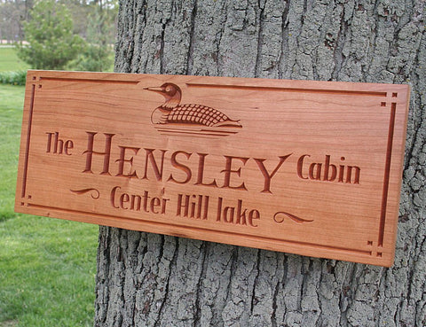 Custom Cabin Signs, Custom Lake House Signs, Personalized Lake House Signs, Benchmark Custom Signs Cherry TD