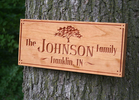 Custom Cabin Signs, Lake House Signs, Rustic Last Name Signs, Benchmark Custom Signs Cherry TG
