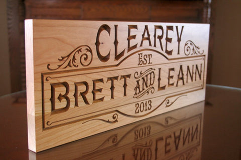 Custom Established Sign, Custom Wooden Family Name Sign, Benchmark Custom Signs Cherry SB