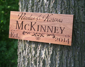Custom Established Sign, Personalized Established Sign, Personalized Wooden Established Sign Walnut IG