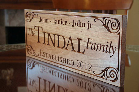Custom Established Sign, Custom Wooden Family Name Sign,  Benchmark Custom Signs Cherry GG