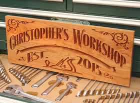 Custom Workshop Sign, Rustic Man Cave Sign, Benchmark Custom Signs Cherry WS