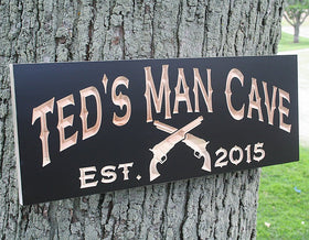 Man Cave Sign with Pistols