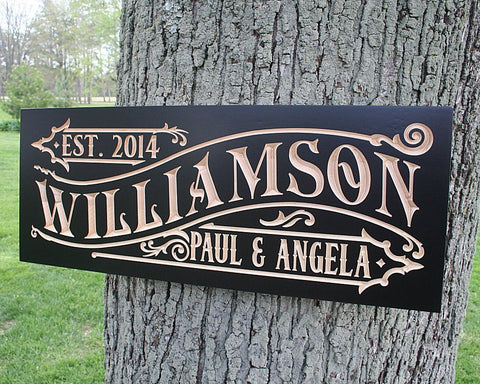 Established Sign Personalized Custom, Wooden Family Established Signs, Custom Wooden Family Name Sign, Maple WM