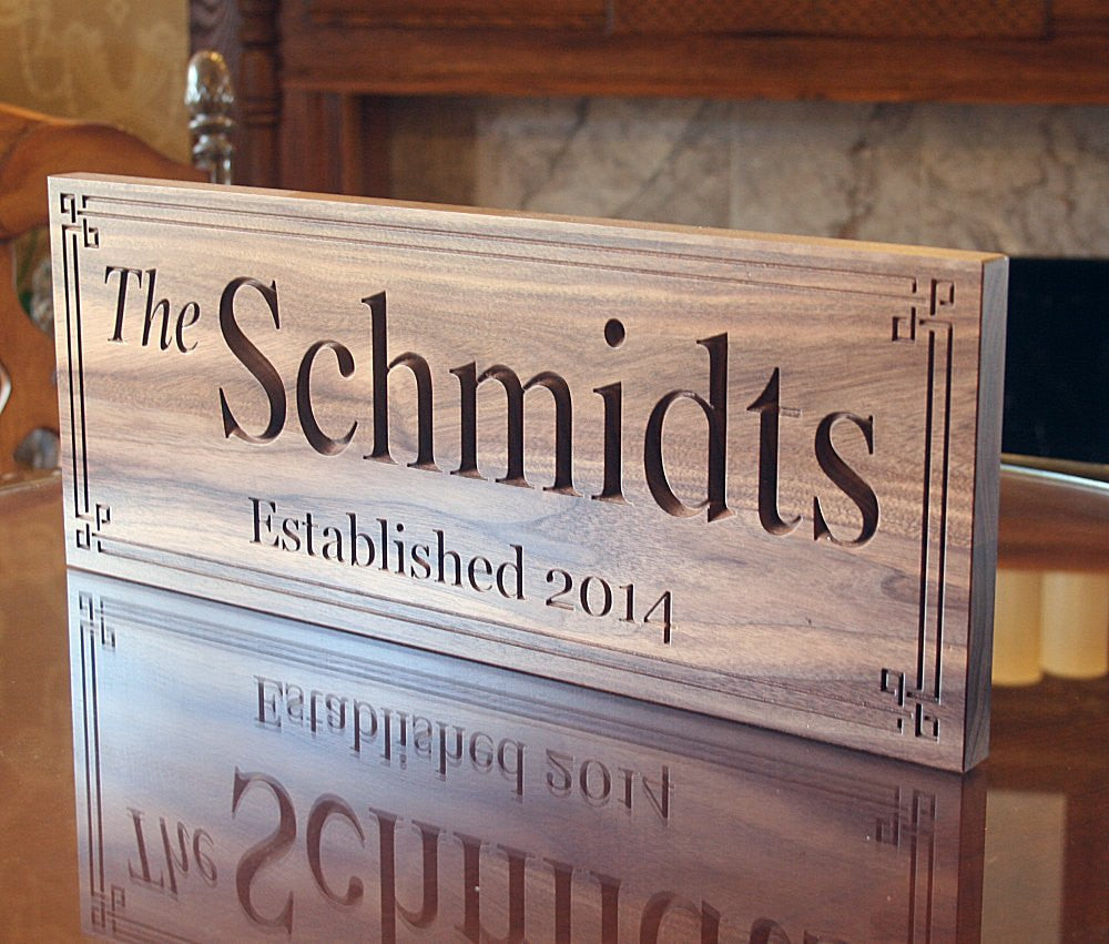 Established Sign, Personalized Family Name Sign, Personalized Family Name Sign, 5th Anniversary Sign Walnut BB