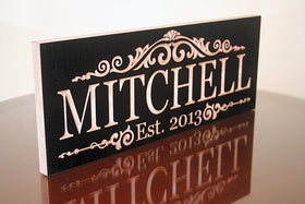 Established Sign, Personalized Family Name Sign, Benchmark Custom Signs Maple LM