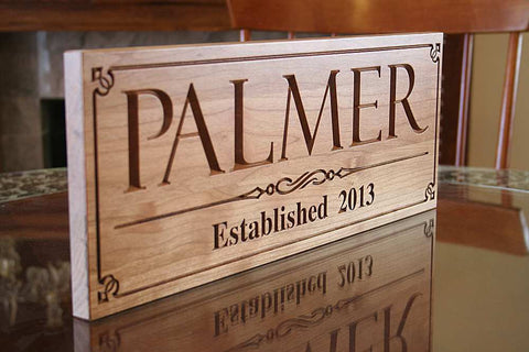 Family Established Sign Family Name Sign Last Name Sign Personalized Family Name Sign Custom Wood Sign 5yr Anniversary Gift Cherry PP