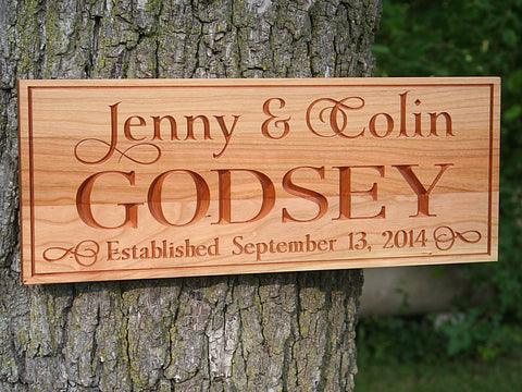 Family Name Sign, Important Date Sign, Established Sign, Benchmark Custom Signs Cherry WJ