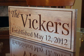 Family Name Sign, Important Date Sign, 5th Anniversary Sign,  Benchmark Custom Signs Cherry VV