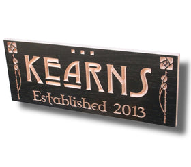 Family Name Sign, 5th Anniversary Sign, Last Name Established Sign,  Benchmark Custom Sign  Maple LD