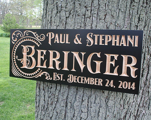 Important Date Sign, Personalized Family Name Sign,  Benchmark Custom Signs Maple SR