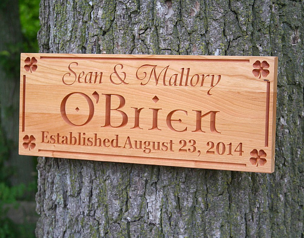 Irish Name Sign, Personalized Anniversary Sign, Last Name Established Sign, Celtic Sign, Benchmark Custom Signs Cherry SK