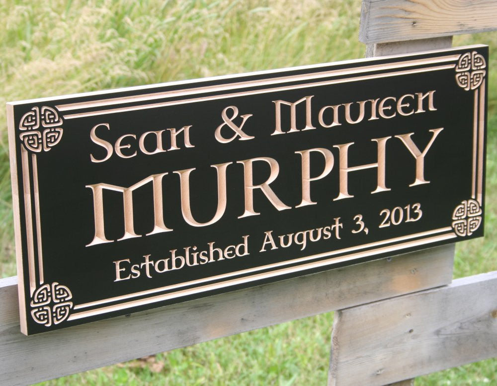 Irish Name Sign, Carved Wooden Sign, Celtic Sign, Benchmark Custom Signs Maple CN
