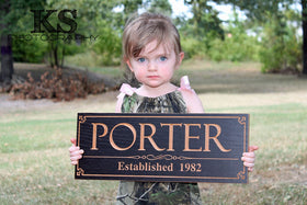 Last Name Sign Anniversary Family Established Sign Wedding Established Sign Man Cave Decor, Maple PP