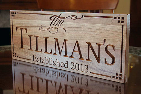 Last Name Sign 5yr Anniversary Gift Personalized Wedding Gift Established Family Sign Man Cave Decor Cherry LL