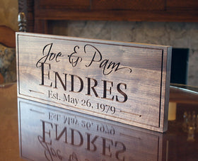 Last Name Sign 5yr Anniversary Gift Wedding Signage Custom Wood Sign Personalized Family Name Sign Wedding Established Sign Walnut LH