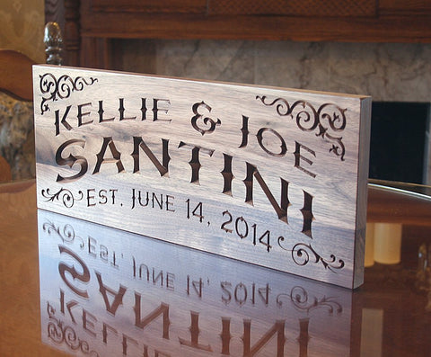 Last Name Sign, Custom Established Sign, Benchmark Custom Signs Walnut CC