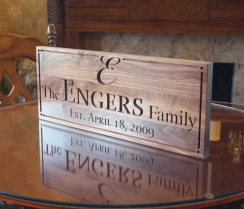 Last Name Sign Custom Sign Family Established Sign Wedding Signage Wedding Anniversary Gift Groomsman Gift 5yr Anniversary Gift Walnut WW
