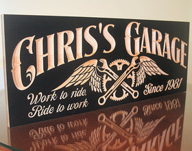 Motorcycle Signs, Motorcycle Signs For Garage, Rustic Man Cave Sign, Benchmark Custom Signs Maple SG