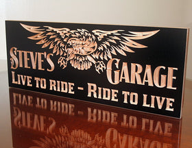 Motorcycle Signs, Boyfriend Gift Ideas, Awesome Man Gifts, Benchmark Custom Signs Maple LR
