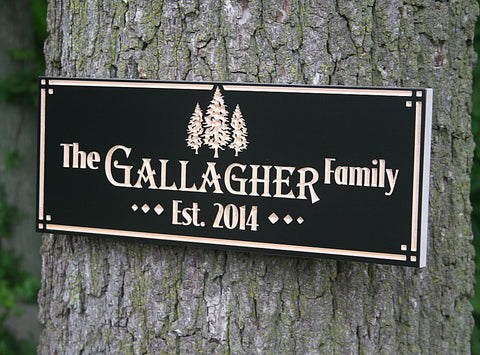 Personalized Cabin Signs, Rustic Family Established Signs, Benchmark Custom Signs Maple TE