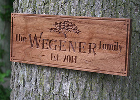 Personalized Cabin Signs, Rustic Last Name Signs, Benchmark Custom Signs Walnut TG